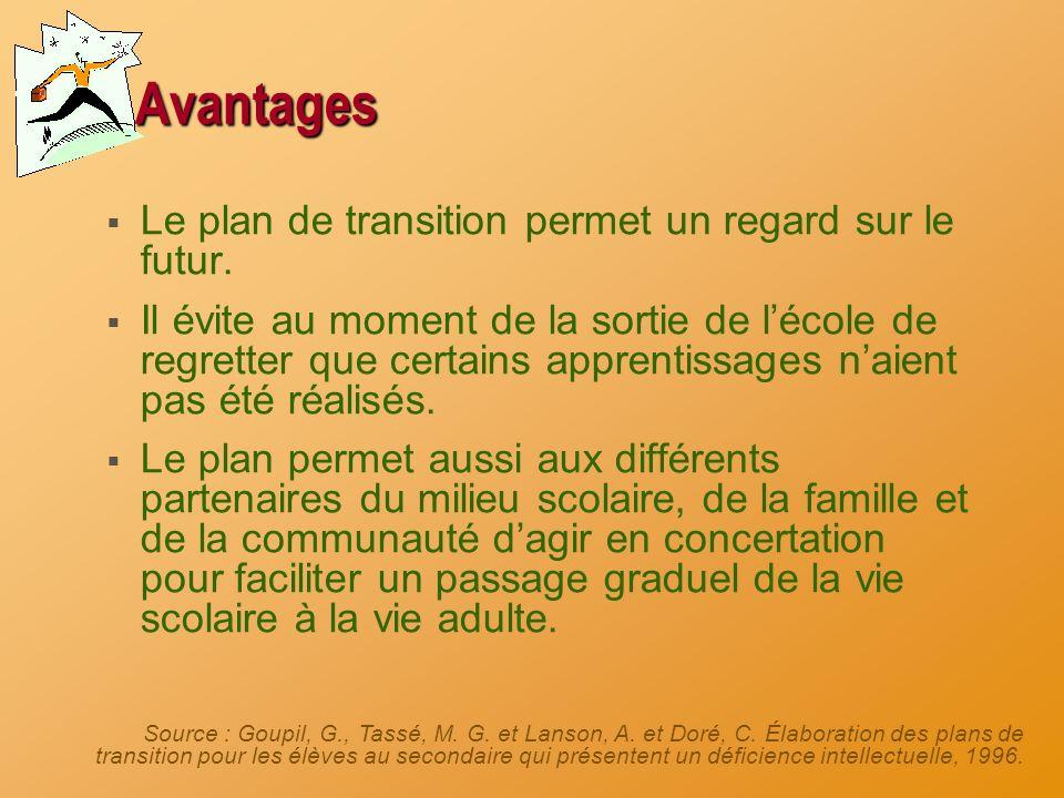 Avantages Le plan de transition permet un regard sur le futur.
