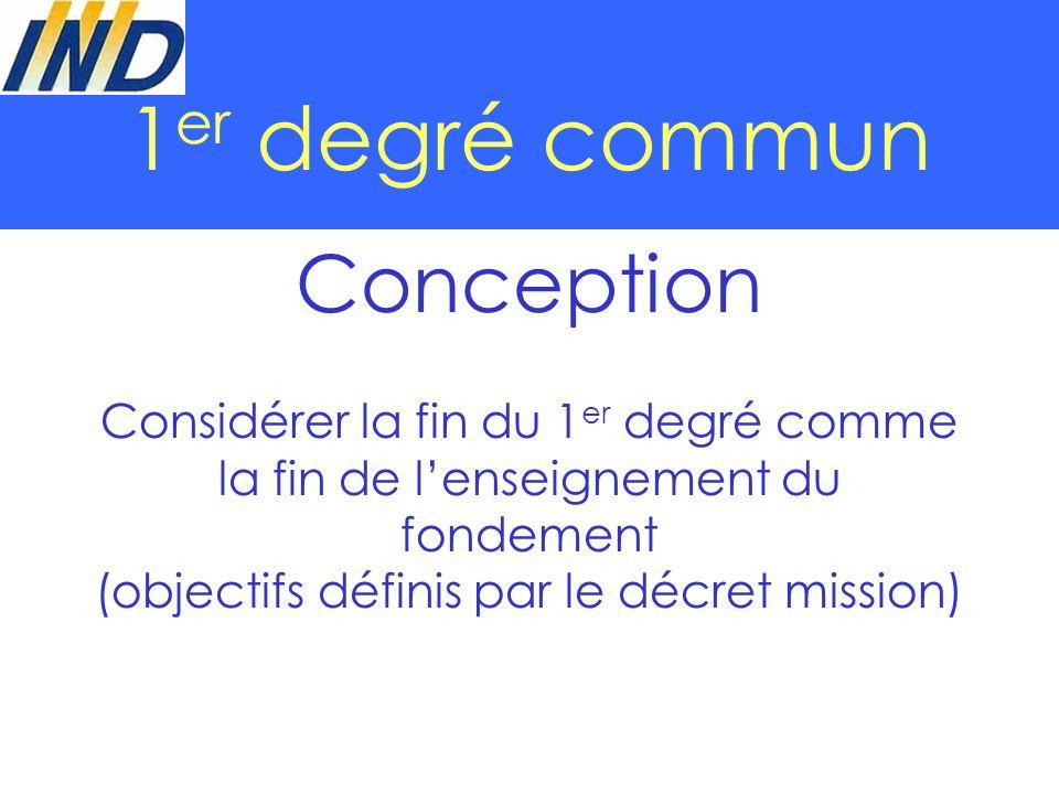 1 er degré commun Conception Considérer la fin du 1 er degré comme la fin de lenseignement du fondement (objectifs définis par le décret mission)