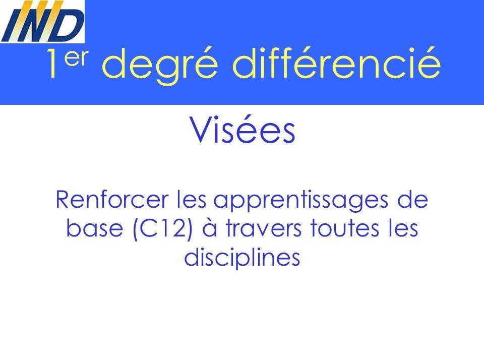 1 er degré différencié Visées Renforcer les apprentissages de base (C12) à travers toutes les disciplines