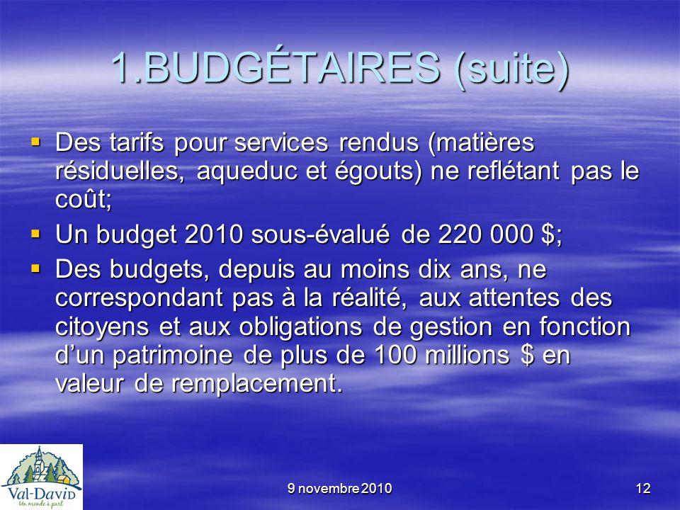 9 novembre 201012 1.BUDGÉTAIRES (suite) Des tarifs pour services rendus (matières résiduelles, aqueduc et égouts) ne reflétant pas le coût; Des tarifs