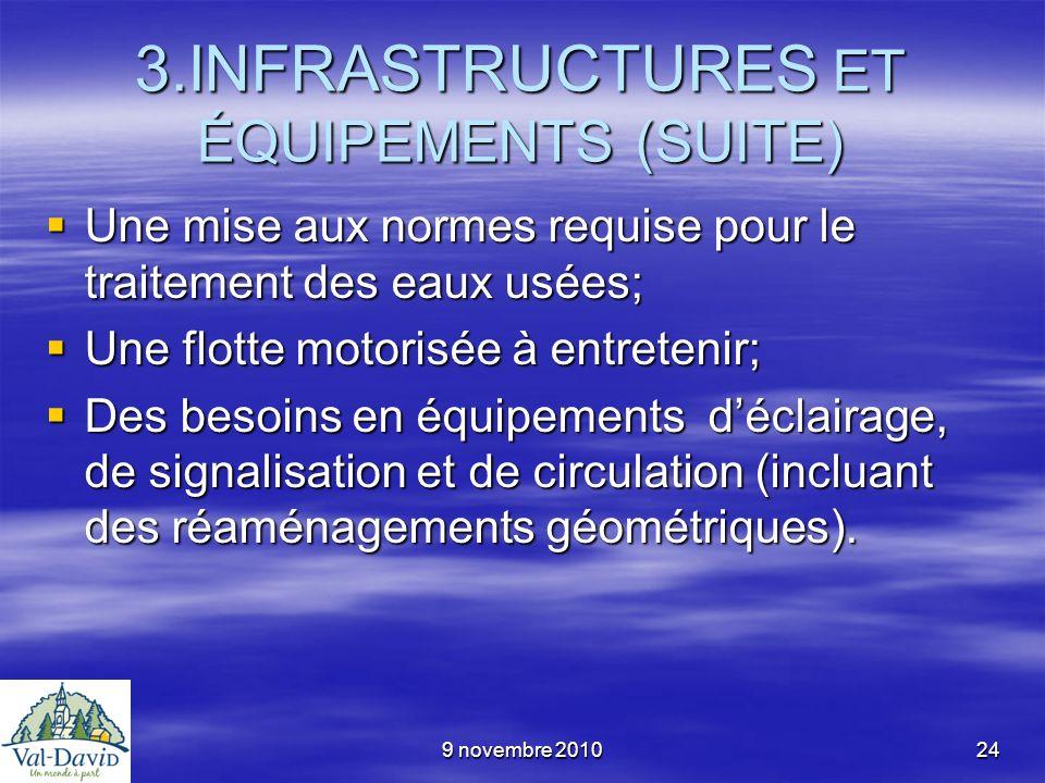 9 novembre 201024 3.INFRASTRUCTURES ET ÉQUIPEMENTS (SUITE) Une mise aux normes requise pour le traitement des eaux usées; Une mise aux normes requise