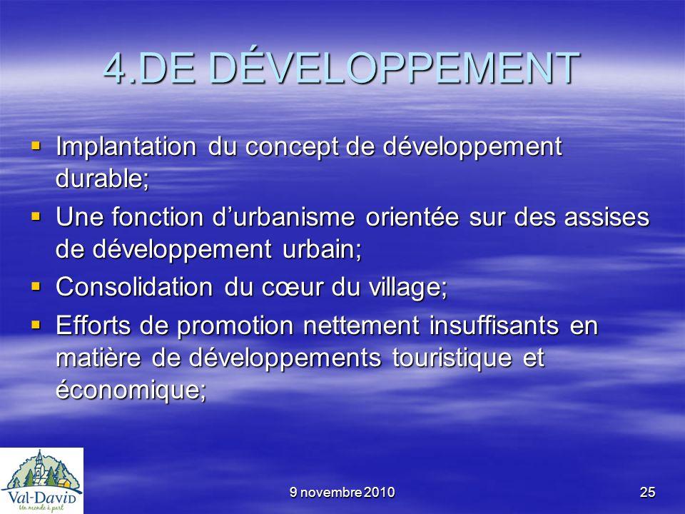 9 novembre 201025 4.DE DÉVELOPPEMENT Implantation du concept de développement durable; Implantation du concept de développement durable; Une fonction