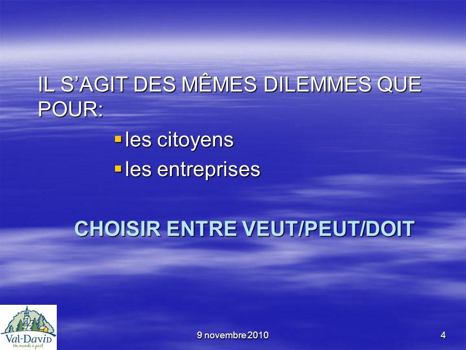 9 novembre 20104 IL SAGIT DES MÊMES DILEMMES QUE POUR: les citoyens les citoyens les entreprises les entreprises CHOISIR ENTRE VEUT/PEUT/DOIT