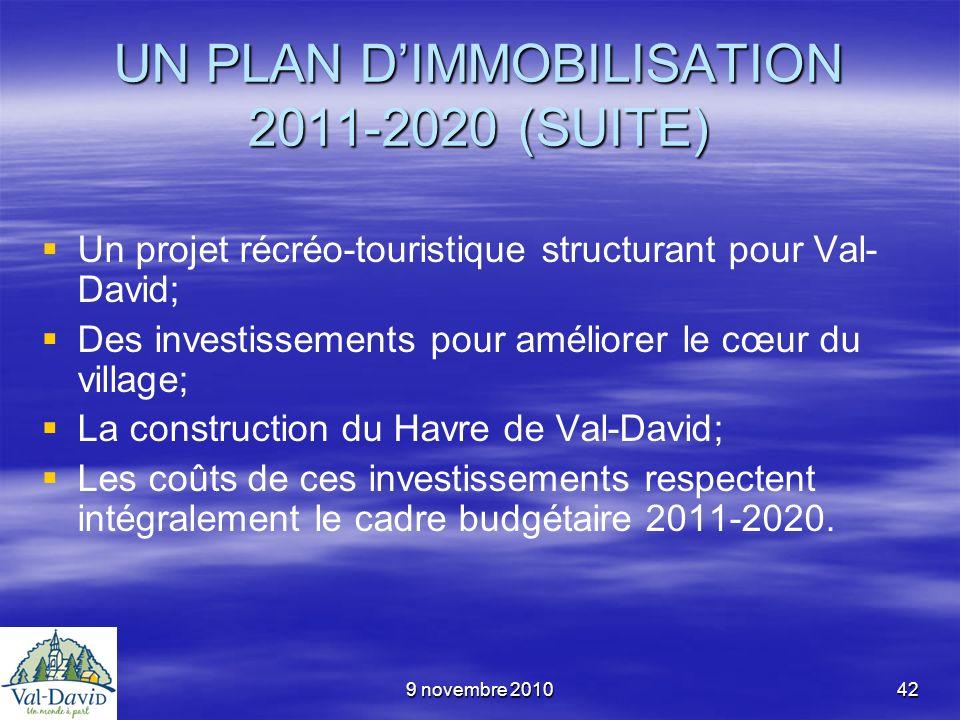 9 novembre 201042 UN PLAN DIMMOBILISATION 2011-2020 (SUITE) Un projet récréo-touristique structurant pour Val- David; Des investissements pour amélior