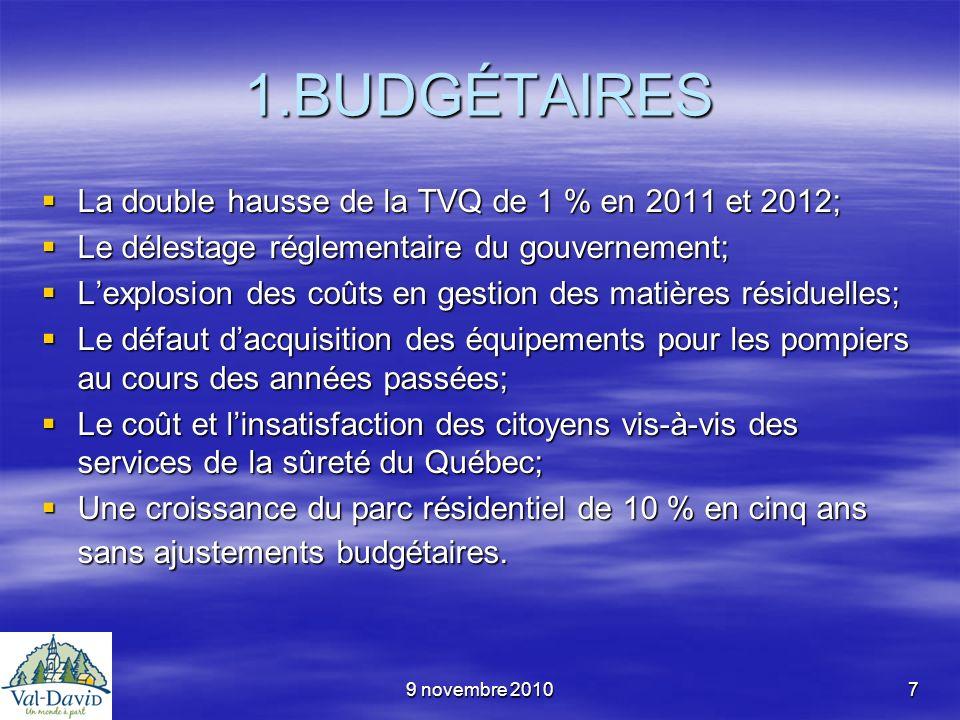 9 novembre 20107 1.BUDGÉTAIRES La double hausse de la TVQ de 1 % en 2011 et 2012; La double hausse de la TVQ de 1 % en 2011 et 2012; Le délestage régl