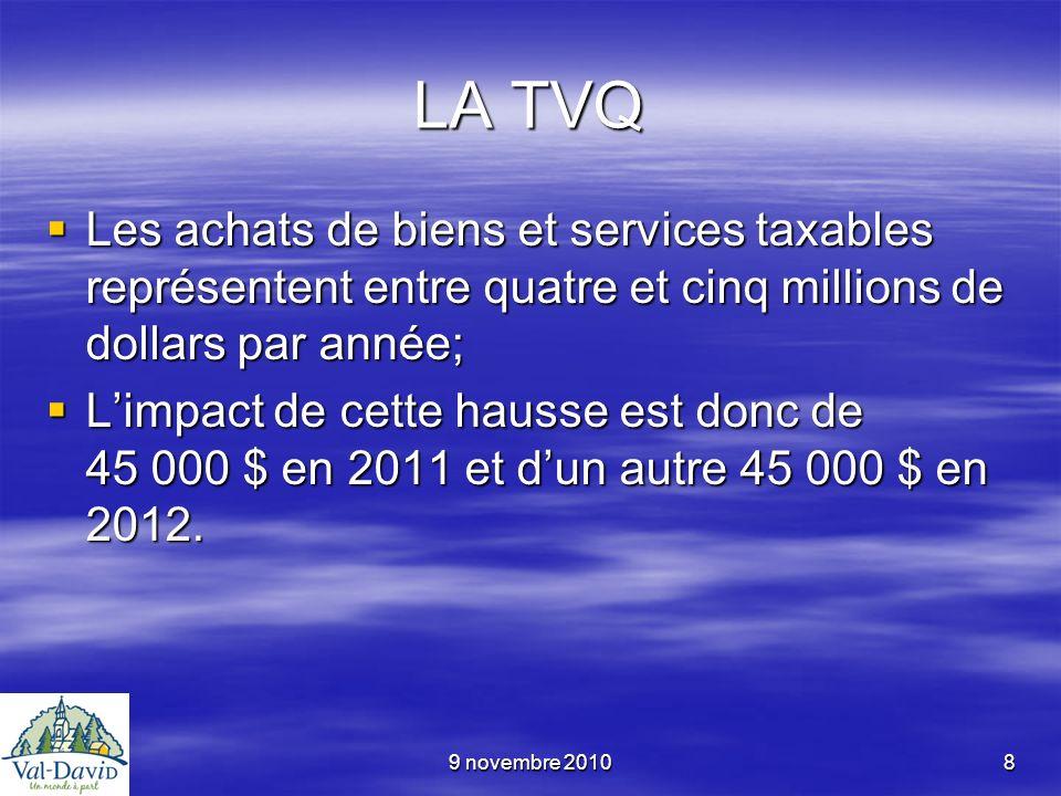 9 novembre 20108 LA TVQ Les achats de biens et services taxables représentent entre quatre et cinq millions de dollars par année; Les achats de biens