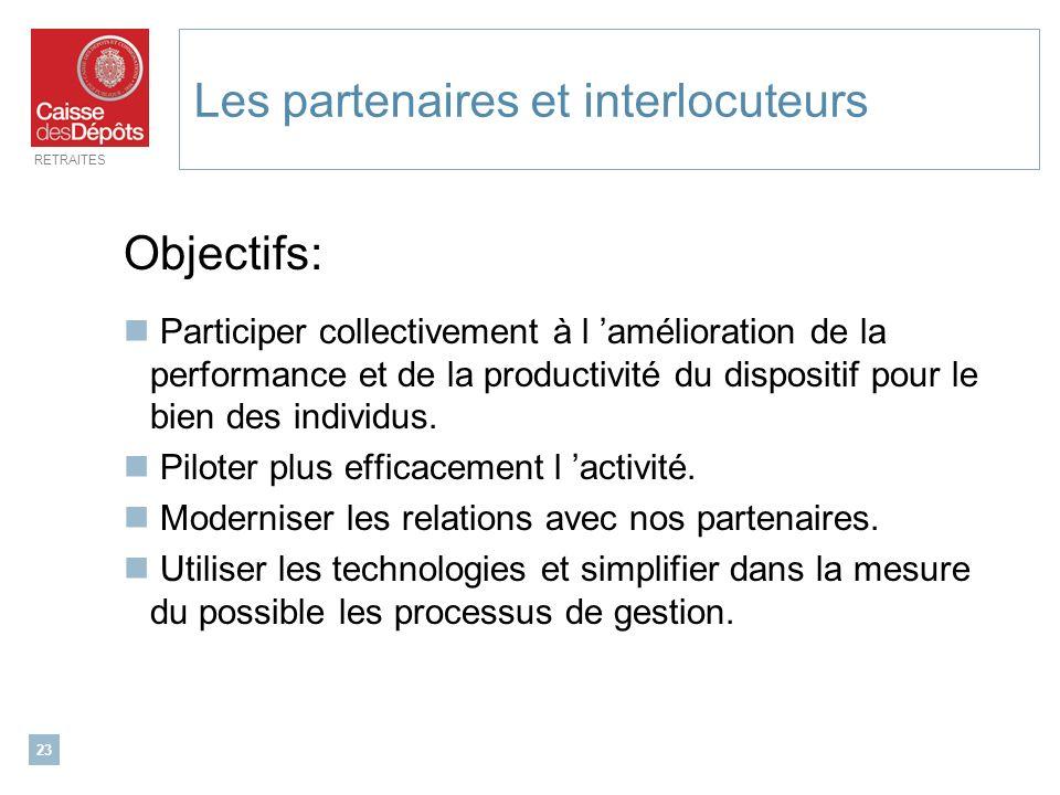 RETRAITES 23 Les partenaires et interlocuteurs Objectifs: Participer collectivement à l amélioration de la performance et de la productivité du dispos