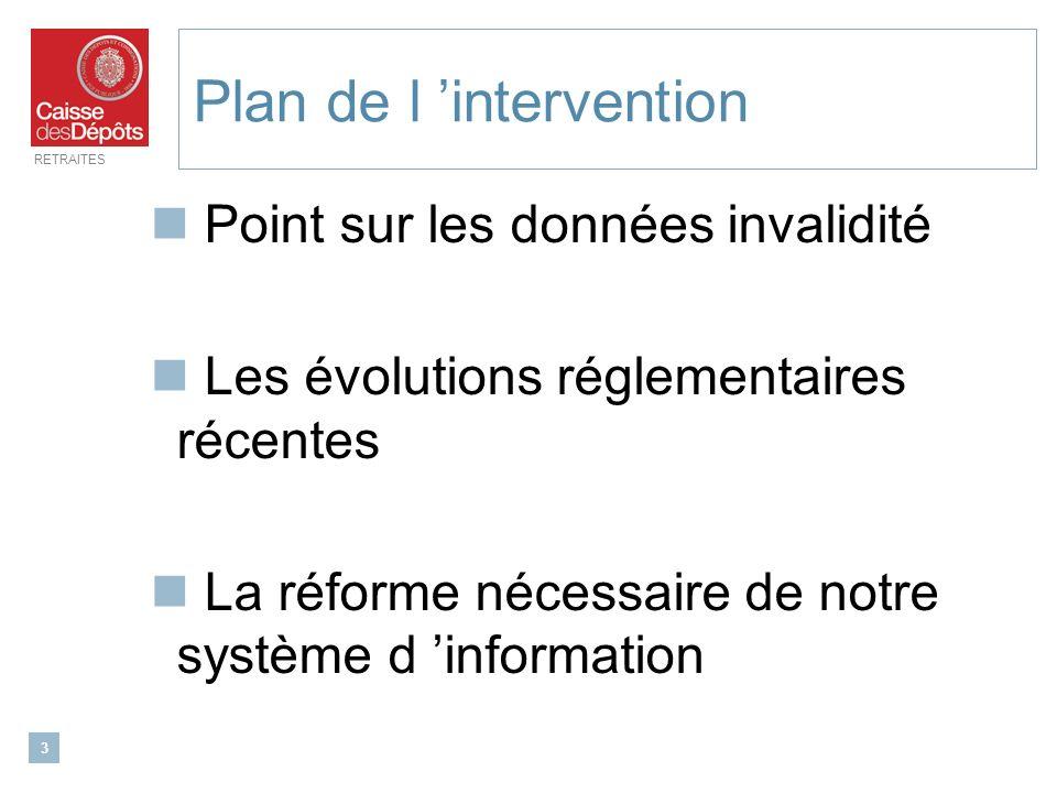 RETRAITES 3 Plan de l intervention Point sur les données invalidité Les évolutions réglementaires récentes La réforme nécessaire de notre système d in