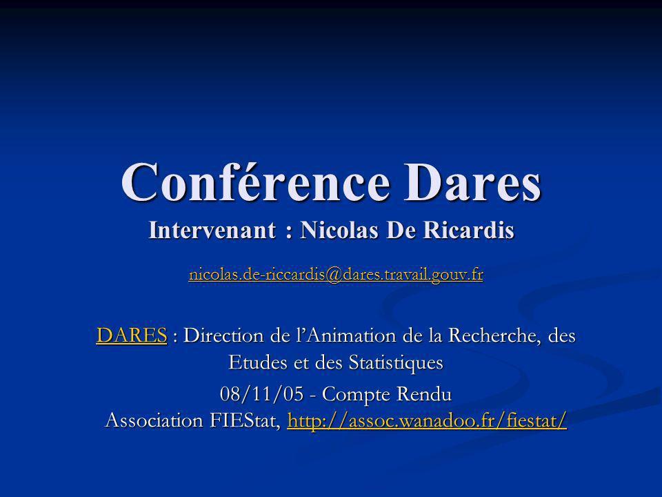 Conférence Dares Intervenant : Nicolas De Ricardis nicolas.de-riccardis@dares.travail.gouv.fr DARESDARES : Direction de lAnimation de la Recherche, des Etudes et des Statistiques DARES 08/11/05 - Compte Rendu Association FIEStat, http://assoc.wanadoo.fr/fiestat/ http://assoc.wanadoo.fr/fiestat/