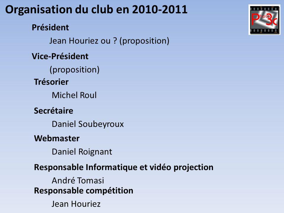 Organisation du club en 2010-2011 Michel Roul Trésorier Daniel Soubeyroux Secrétaire Jean Houriez ou ? (proposition) Président (proposition) Vice-Prés