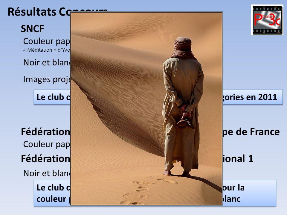 Résultats Concours Couleur papier : 1 er Champion de France « Méditation » dYvonne Eragne arrivée première 19/17/20 tous clubs confondus SNCF Noir et
