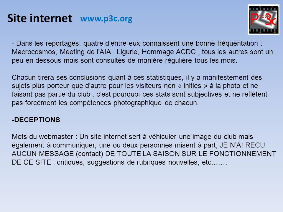Site internet www.p3c.org - Dans les reportages, quatre dentre eux connaissent une bonne fréquentation : Macrocosmos, Meeting de lAIA, Ligurie, Hommag