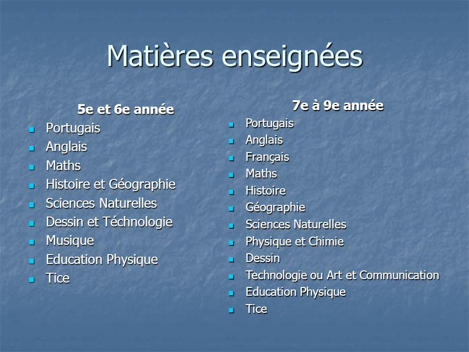 Matières enseignées 5e et 6e année Portugais Portugais Anglais Anglais Maths Maths Histoire et Géographie Histoire et Géographie Sciences Naturelles S