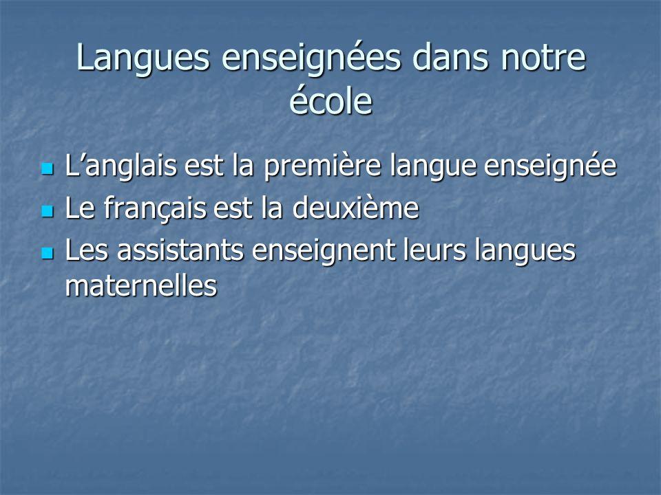 Langues enseignées dans notre école Langlais est la première langue enseignée Langlais est la première langue enseignée Le français est la deuxième Le