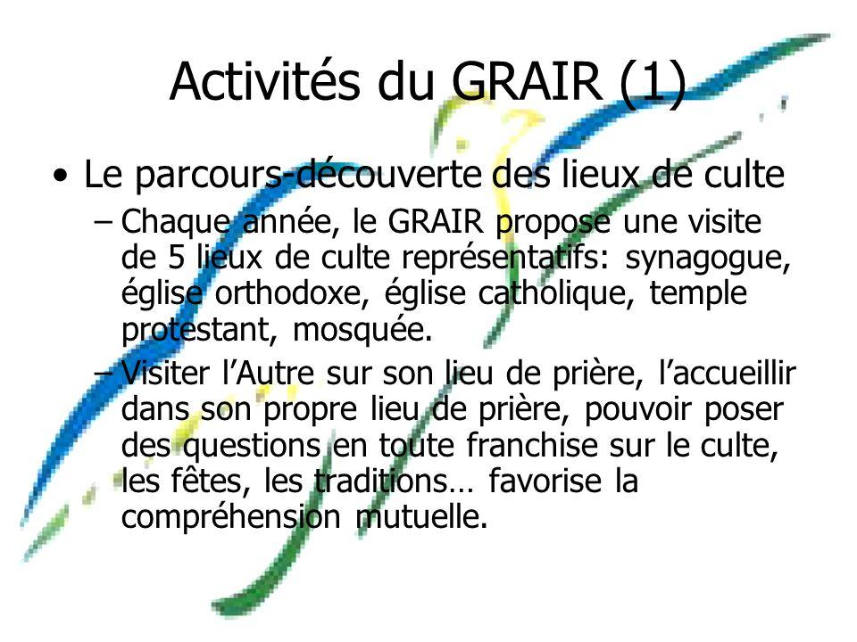 Activités du GRAIR (1) Le parcours-découverte des lieux de culte –Chaque année, le GRAIR propose une visite de 5 lieux de culte représentatifs: synagogue, église orthodoxe, église catholique, temple protestant, mosquée.
