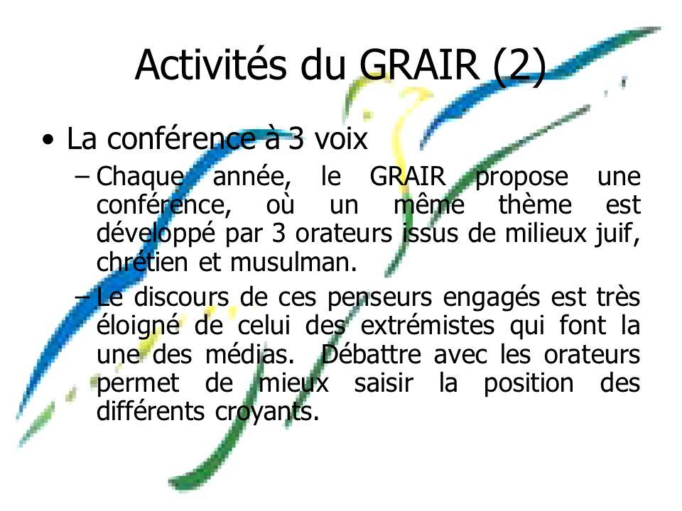 Activités du GRAIR (2) La conférence à 3 voix –Chaque année, le GRAIR propose une conférence, où un même thème est développé par 3 orateurs issus de milieux juif, chrétien et musulman.