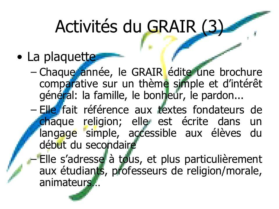 Activités du GRAIR (3) La plaquette –Chaque année, le GRAIR édite une brochure comparative sur un thème simple et dintérêt général: la famille, le bonheur, le pardon...