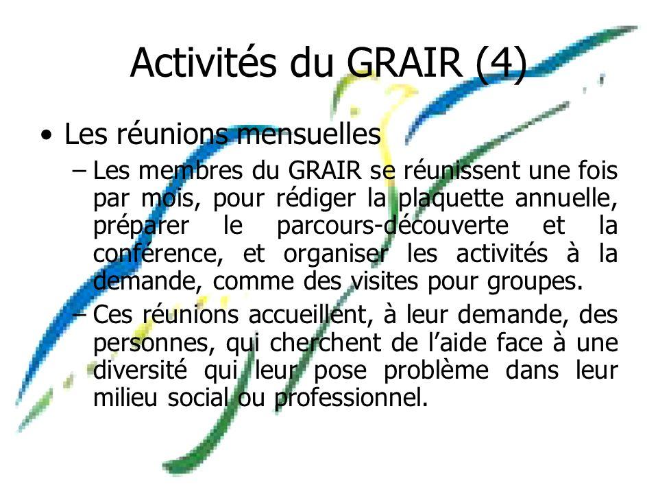 Activités du GRAIR (4) Les réunions mensuelles –Les membres du GRAIR se réunissent une fois par mois, pour rédiger la plaquette annuelle, préparer le parcours-découverte et la conférence, et organiser les activités à la demande, comme des visites pour groupes.