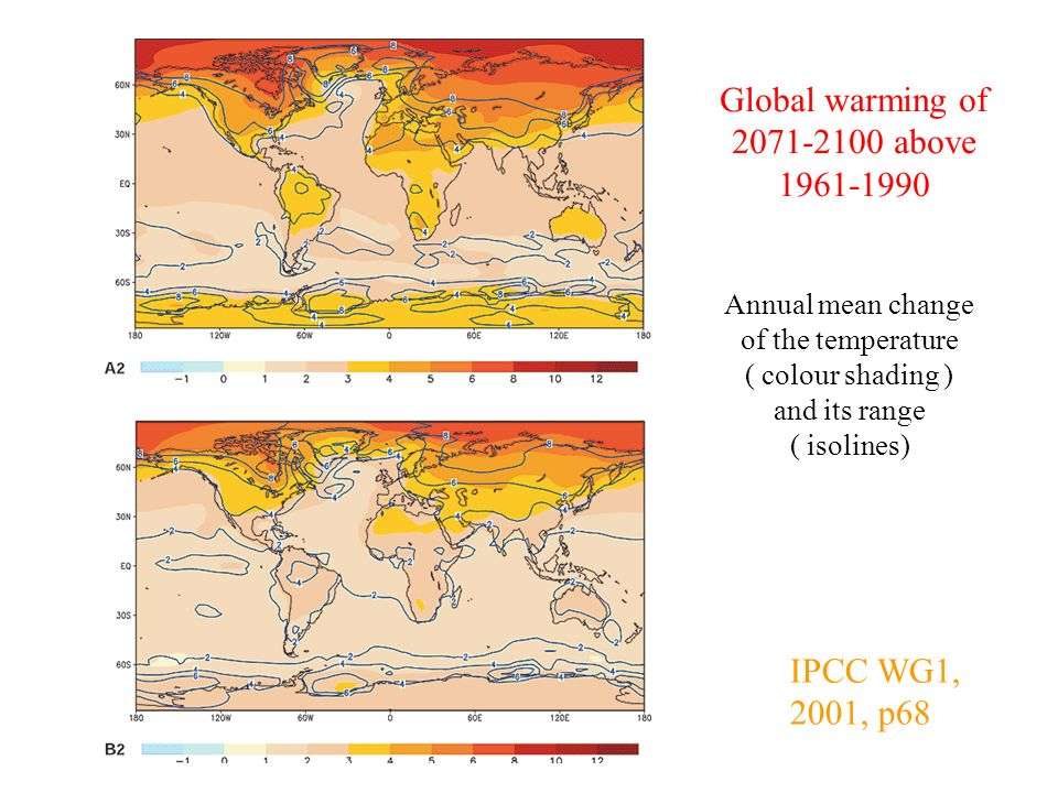 IPCC WG1, 2001, p68 Global warming of 2071-2100 above 1961-1990 Annual mean change of the temperature ( colour shading ) and its range ( isolines)