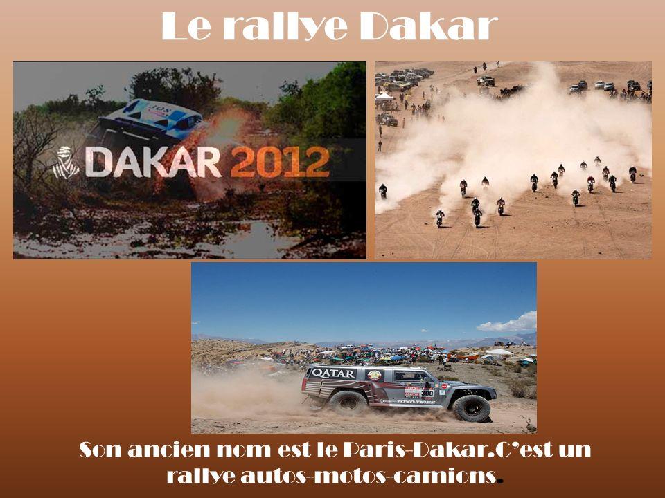 Le rallye Dakar Son ancien nom est le Paris-Dakar.Cest un rallye autos-motos-camions.