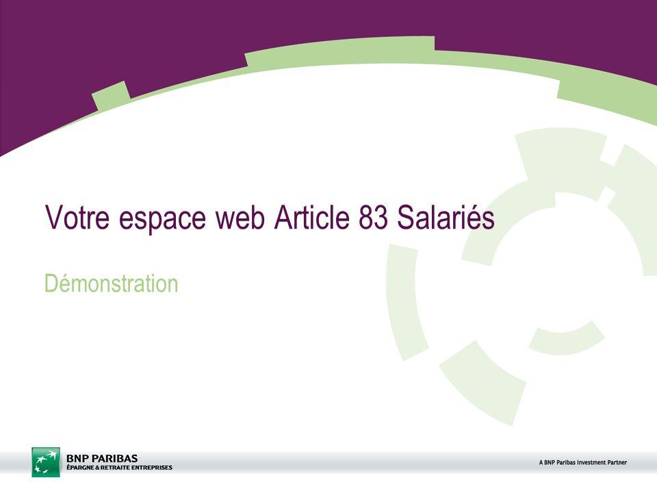 Votre espace web Article 83 Salariés Démonstration