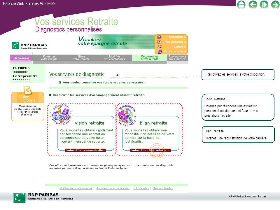 Espace Web salariés Article 83 Vos services Retraite Diagnostics personnalisés Bilan Retraite Obtenez une reconstitution de votre carrière. Vision Ret