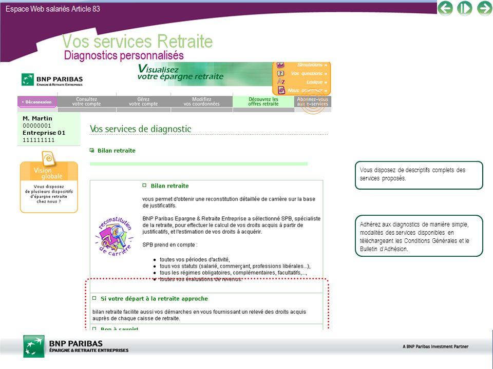 Espace Web salariés Article 83 Vos services Retraite Diagnostics personnalisés Vous disposez de descriptifs complets des services proposés. M. Martin
