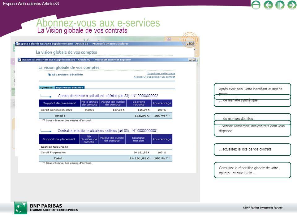 Espace Web salariés Article 83 Abonnez-vous aux e-services M. Martin 00000001 Entreprise 01 111111111 Contrat de retraite à cotisations définie (art.8