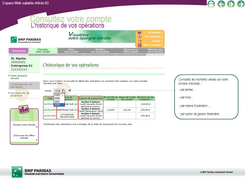 Espace Web salariés Article 83 Consultez votre compte Lhistorique de vos opérations M. Martin 00000001 Entreprise 01 111111111 - par année… Consultez