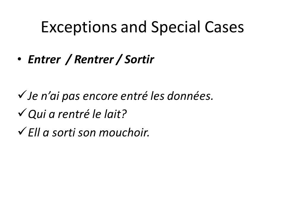 Exceptions and Special Cases Entrer / Rentrer / Sortir Je nai pas encore entré les données. Qui a rentré le lait? Ell a sorti son mouchoir.