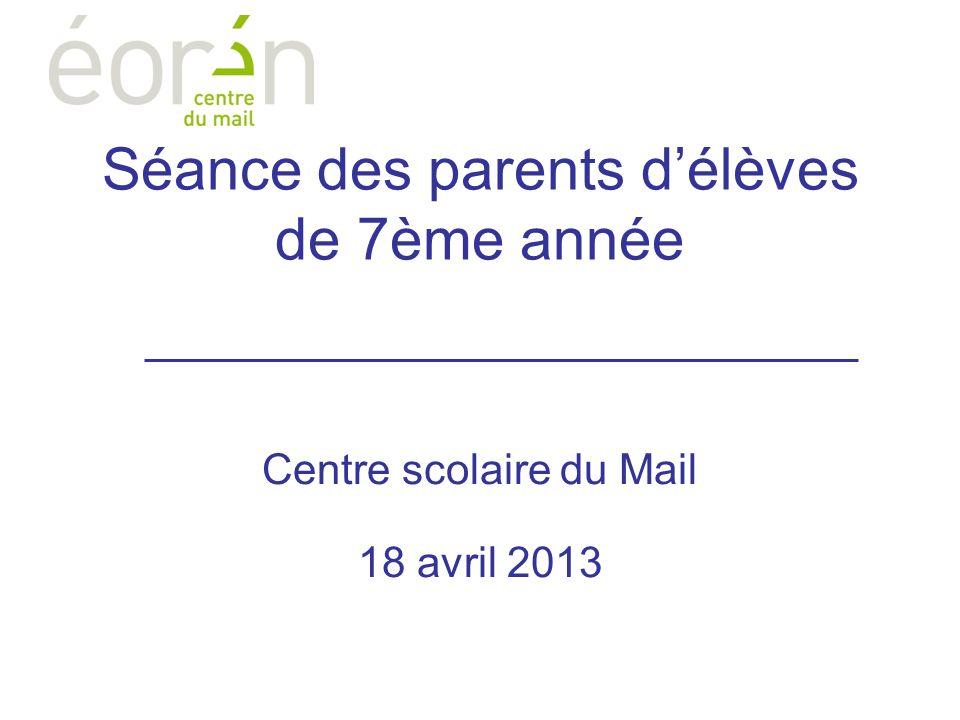 Séance des parents délèves de 7ème année Centre scolaire du Mail 18 avril 2013