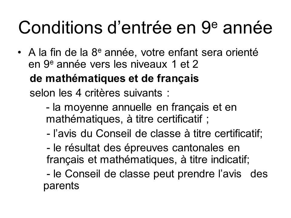 Conditions dentrée en 9 e année A la fin de la 8 e année, votre enfant sera orienté en 9 e année vers les niveaux 1 et 2 de mathématiques et de frança