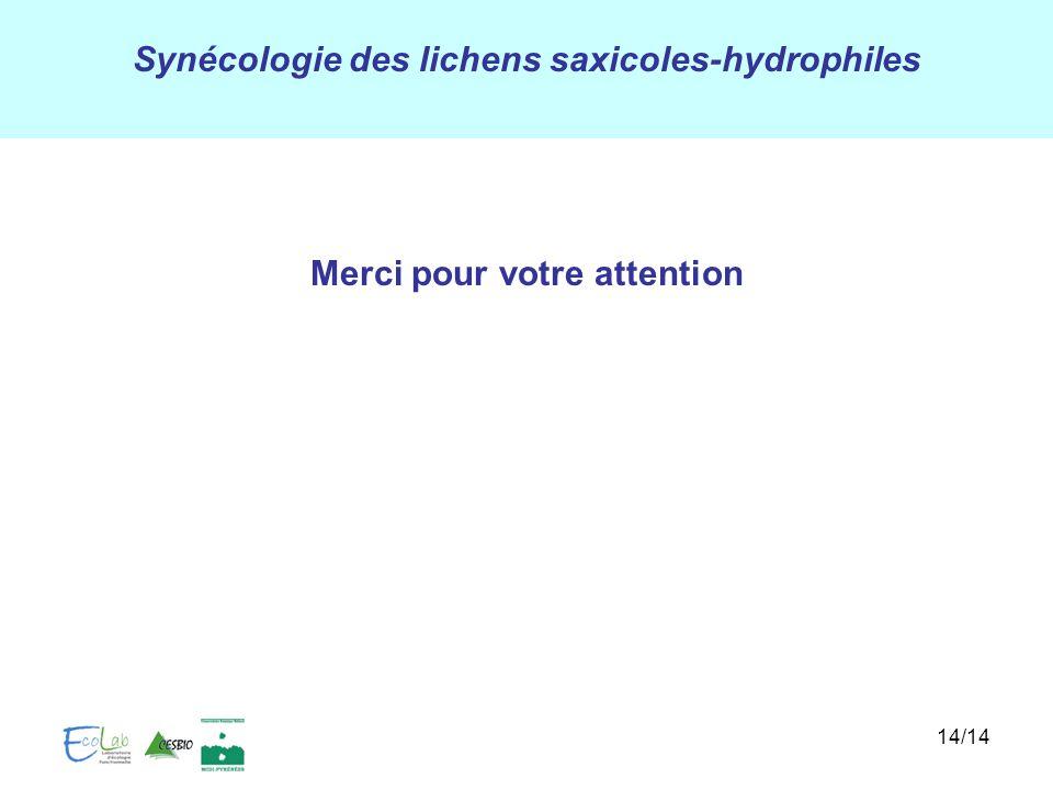 Synécologie des lichens saxicoles-hydrophiles 14/14 Merci pour votre attention