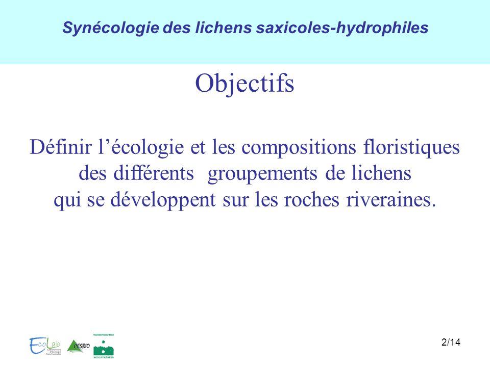 Synécologie des lichens saxicoles-hydrophiles 2/14 Définir lécologie et les compositions floristiques des différents groupements de lichens qui se dév