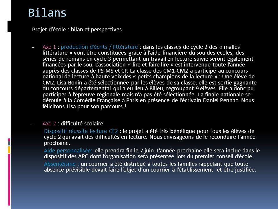 Bilans Projet décole : bilan et perspectives - Axe 1 : production décrits / littérature : dans les classes de cycle 2 des « malles littérature » vont