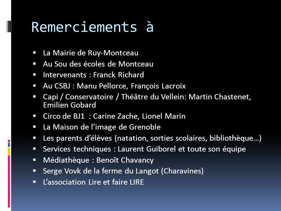 Remerciements à La Mairie de Ruy-Montceau Au Sou des écoles de Montceau Intervenants : Franck Richard Au CSBJ : Manu Pellorce, François Lacroix Capi /