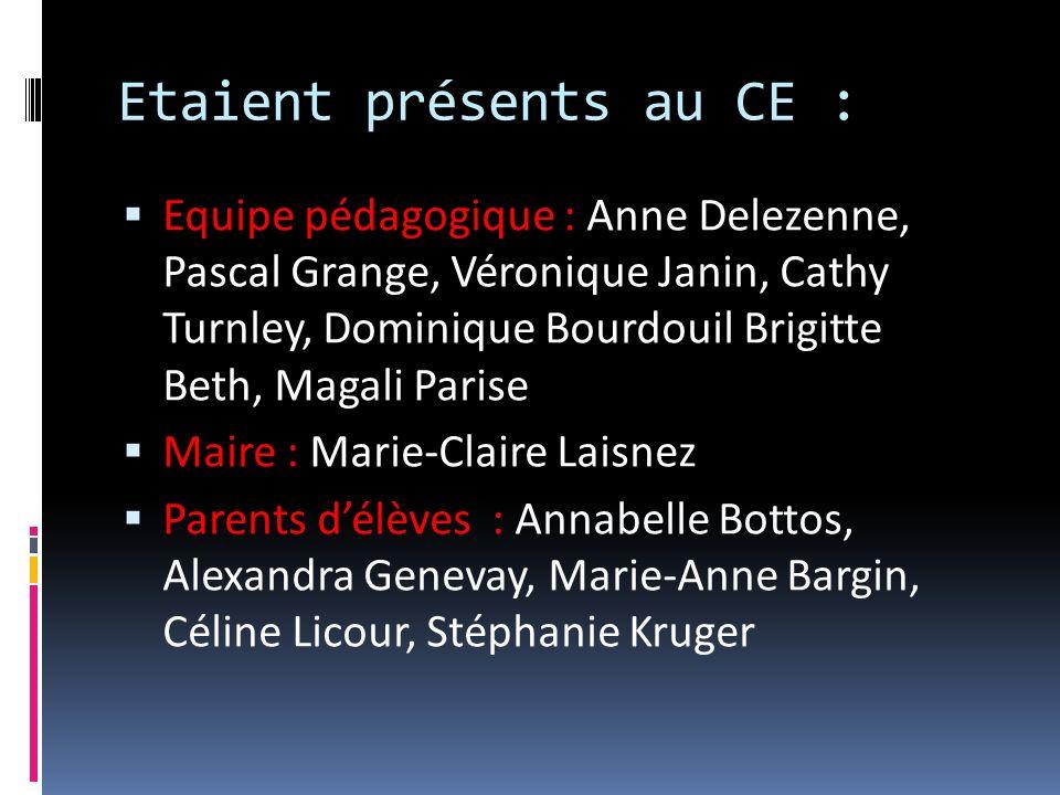 Etaient présents au CE : Equipe pédagogique : Anne Delezenne, Pascal Grange, Véronique Janin, Cathy Turnley, Dominique Bourdouil Brigitte Beth, Magali
