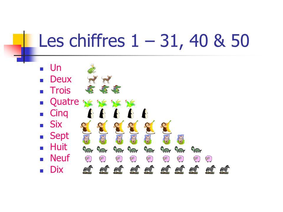 Les chiffres 1 – 31, 40 & 50 Un Deux Trois Quatre Cinq Six Sept Huit Neuf Dix