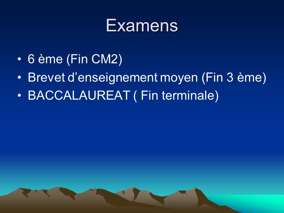 Examens 6 ème (Fin CM2) Brevet denseignement moyen (Fin 3 ème) BACCALAUREAT ( Fin terminale)