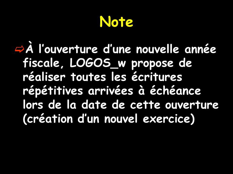 Note À louverture dune nouvelle année fiscale, LOGOS_w propose de réaliser toutes les écritures répétitives arrivées à échéance lors de la date de cette ouverture (création dun nouvel exercice)