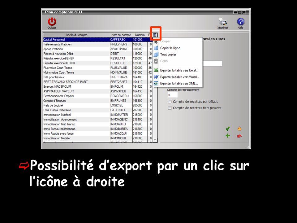 Possibilité dexport par un clic sur licône à droite