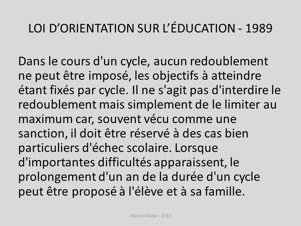LOI DORIENTATION SUR LÉDUCATION - 1989 Dans le cours d'un cycle, aucun redoublement ne peut être imposé, les objectifs à atteindre étant fixés par cyc