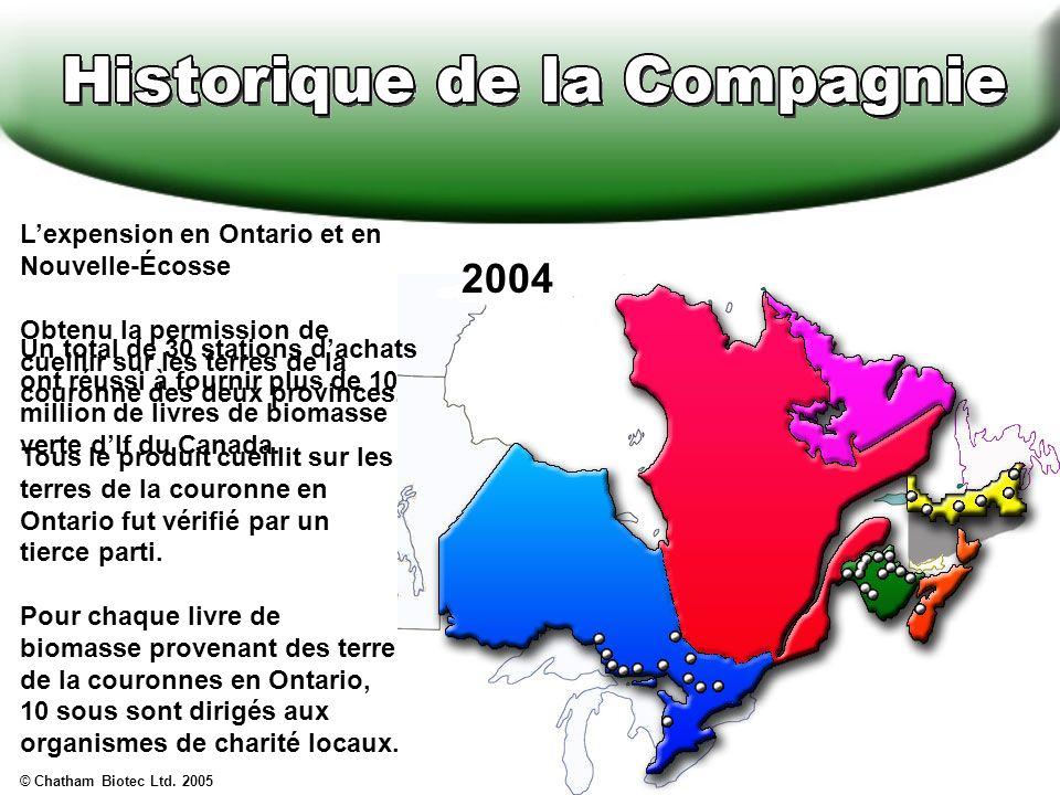 Lexpension en Ontario et en Nouvelle-Écosse Obtenu la permission de cueillir sur les terres de la couronne des deux provinces.