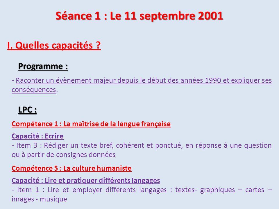 Compétence 5 : La culture humaniste Capacité : Lire et pratiquer différents langages - Item 1 : Lire et employer différents langages : textes- graphiq