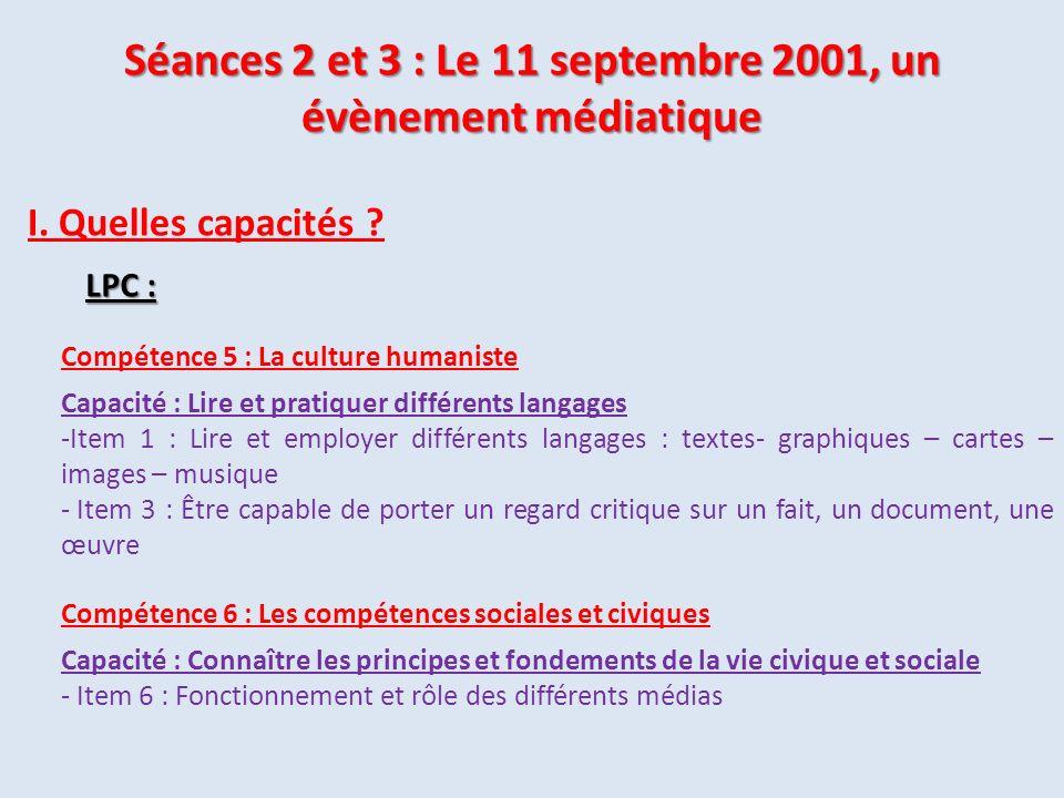 Compétence 5 : La culture humaniste Capacité : Lire et pratiquer différents langages -Item 1 : Lire et employer différents langages : textes- graphiqu