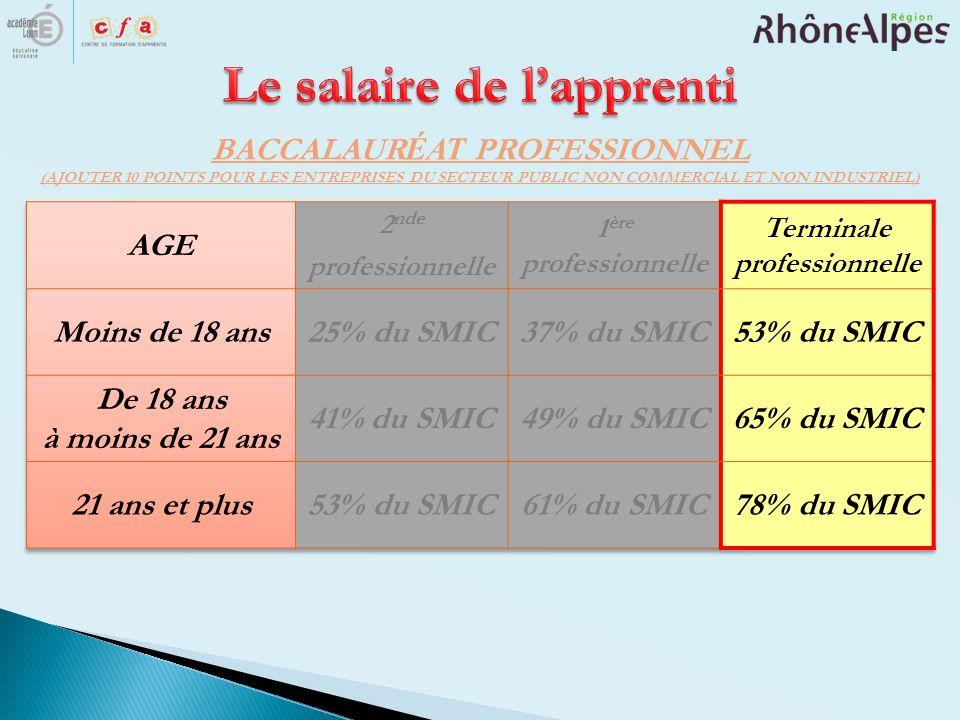 BACCALAUR ÉAT PROFESSIONNEL (AJOUTER 10 POINTS POUR LES ENTREPRISES DU SECTEUR PUBLIC NON COMMERCIAL ET NON INDUSTRIEL)
