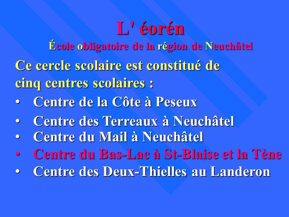 L' éorén École obligatoire de la région de Neuchâtel Ce cercle scolaire est constitué de cinq centres scolaires : Centre de la Côte à Peseux Centre de