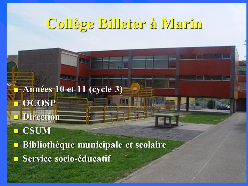 Collège Billeter à Marin n Années 10 et 11 (cycle 3) n OCOSP n Direction n CSUM n Bibliothèque municipale et scolaire n Service socio-éducatif
