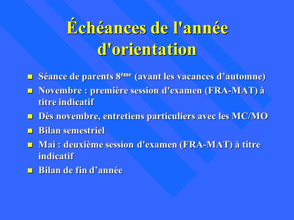 Échéances de l'année d'orientation n Séance de parents 8 ème (avant les vacances dautomne) n Novembre : première session d'examen (FRA-MAT) à titre in