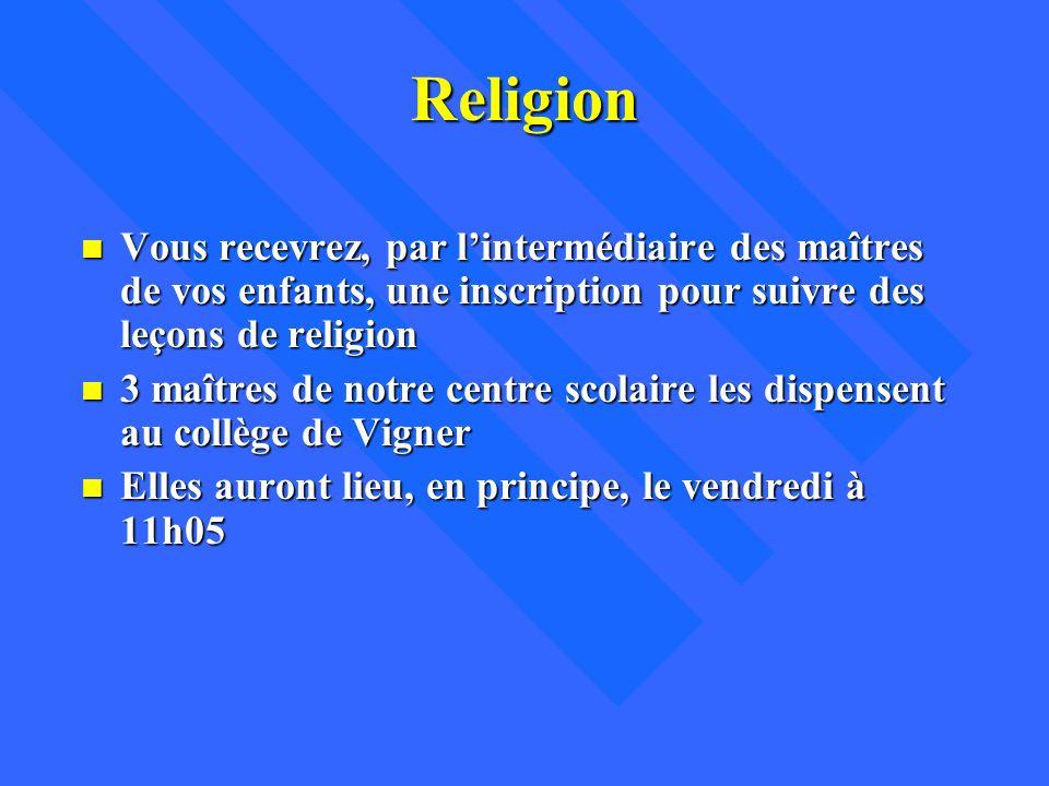 Religion n Vous recevrez, par lintermédiaire des maîtres de vos enfants, une inscription pour suivre des leçons de religion n 3 maîtres de notre centr